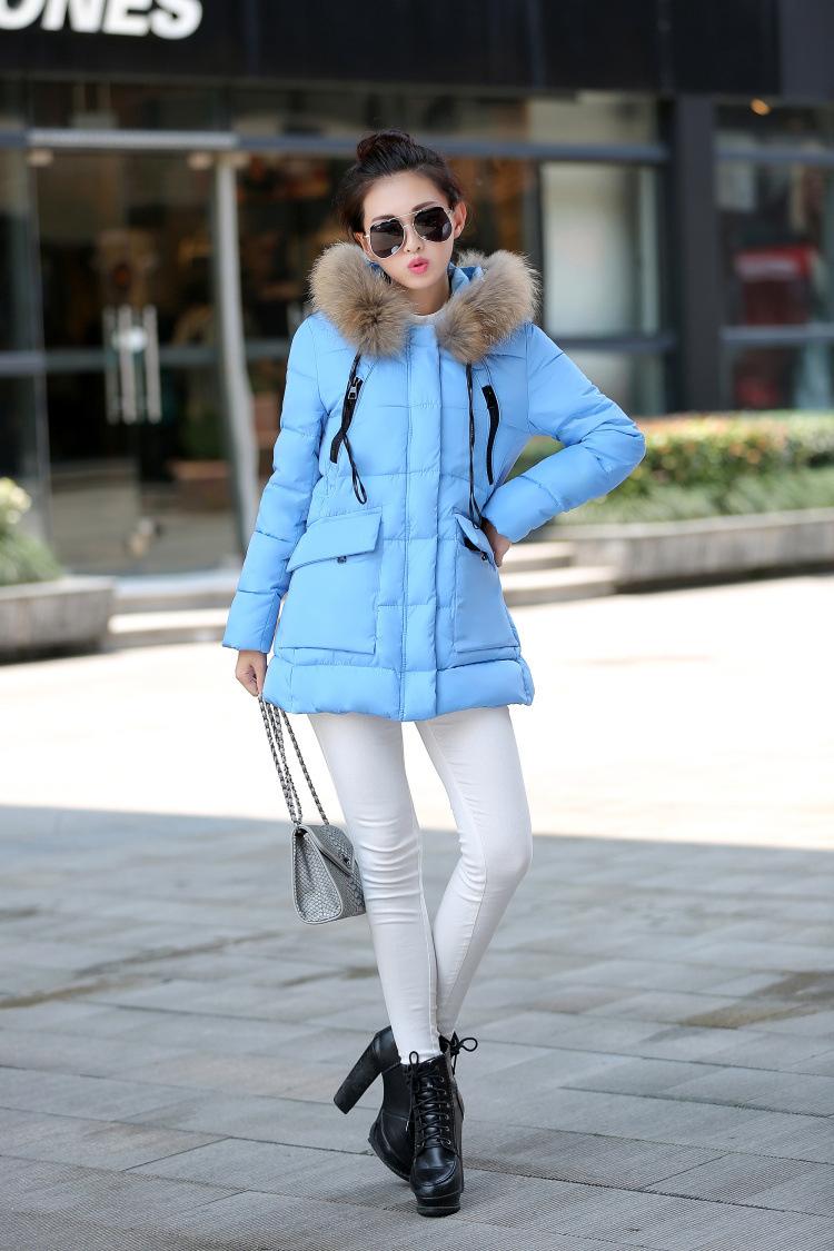 2015 Fashion Women Winter Jacket Round Collar Thickening  Female Duck Down Clothing Women Zipper Slim Warm Parkas Coat  YHW16021