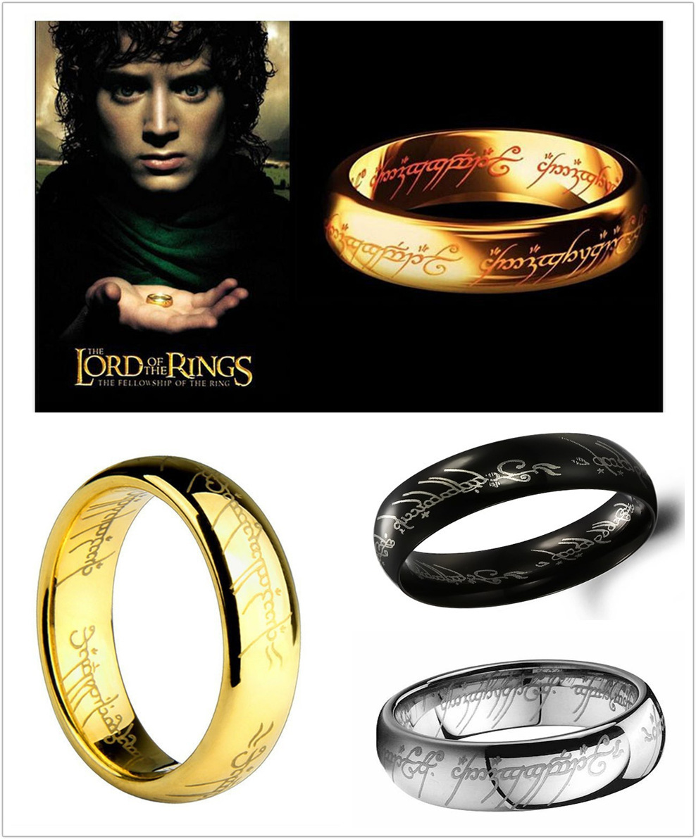 Brand New 18K Hobbit And Lord of The Rings Jewelry Super Bright Titanium Steel Gold Plated Rings For Men 6MM Rings Jewelry(China (Mainland))
