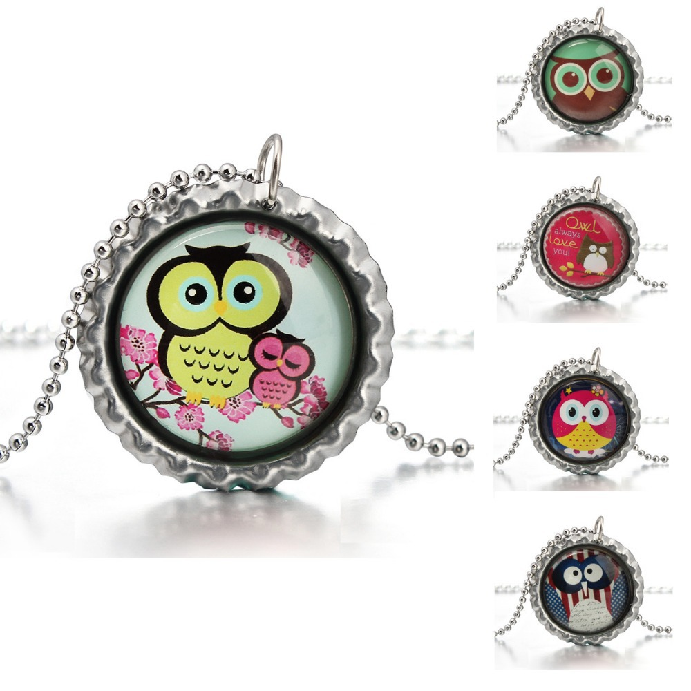 Glass Cabochon Owl Bottle Cup Pendant Necklace Chain Choker Necklace Jewelry for Best Gift(China (Mainland))