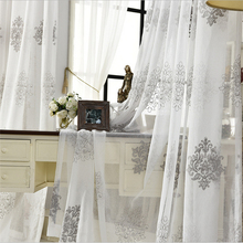 High Quality Linen Embroidered Curtain Bedroom Window Tulle Gauze Grey Voile Curtains For Living Room Curtain Finished Custom(China (Mainland))