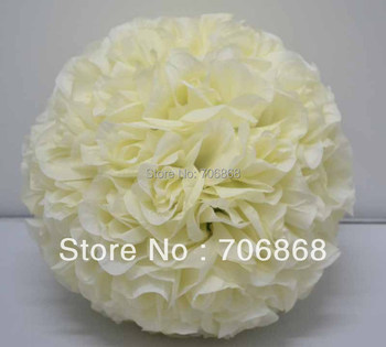 Ivory color 12inches diameter 30cm artificial silk kissing flower ball wedding party church decoration use