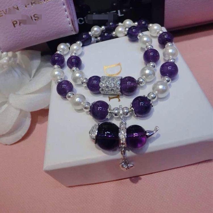 Natural amethyst bracelet Ms pearl gourd with 925 silver ornament fashion bracelets<br><br>Aliexpress