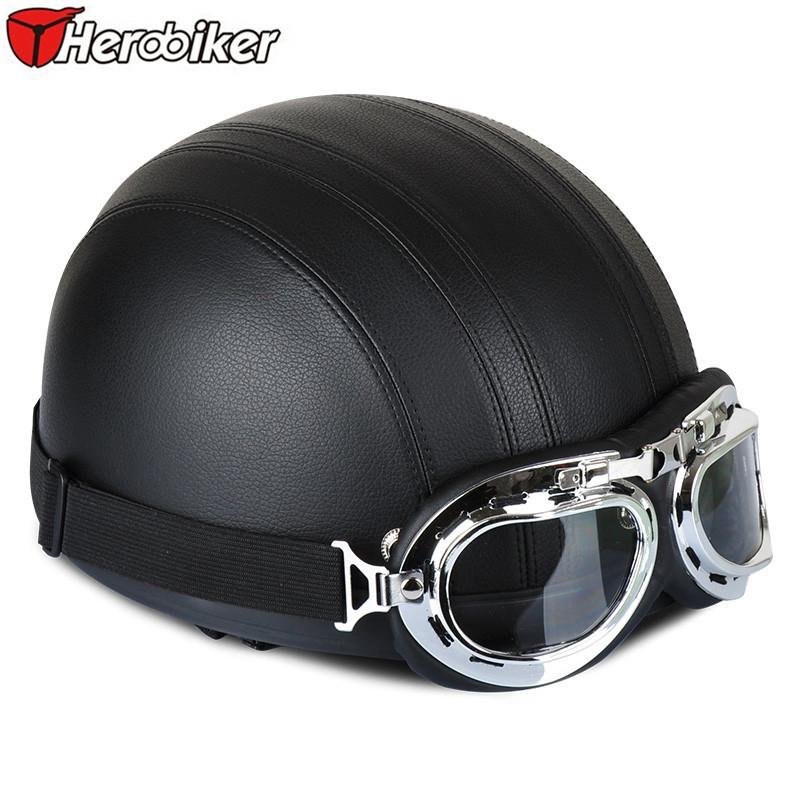 2016 HEROBIKER black Leather vintage Motorcycle Helmets half face helmet motorcycle Unisex safety helmet Visor & Goggles(China (Mainland))