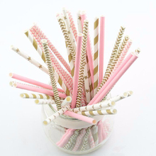 25pcs pink gold striped mixed Biodegradable Paper Drinking Straws for Wedding party kids Birthday party Decoration supplies(China (Mainland))