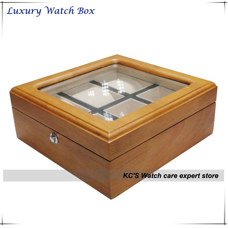High Quality Solid Wood 6 Slot Watch Case Watch Display Show Case Box Storage Organizer Holder GC02-SM-06WL<br><br>Aliexpress