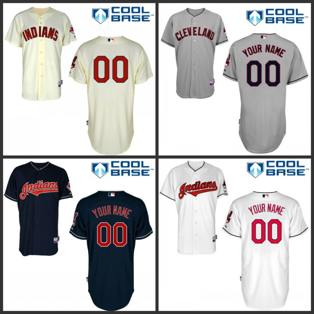 Mens Authentic Cleveland Indians Custom Baseball Jerseys Personalized any name and number stitched S-3XL Navy Gray White Cream(China (Mainland))