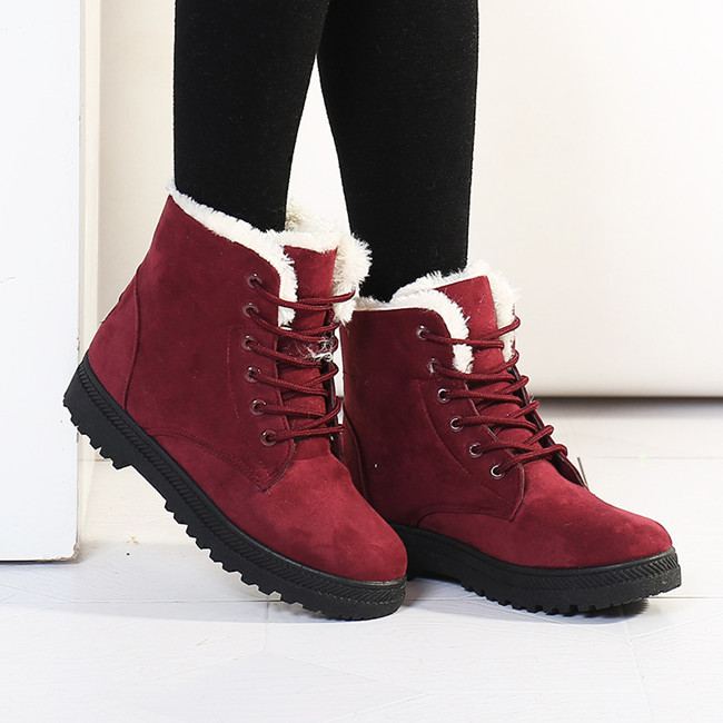 Snow Boots Fashion Women Boots Botas Mujer Fur Winter Snow Boots Women Ankle Boot Flat Heels Winter Shoes Warm Women Snow Shoes