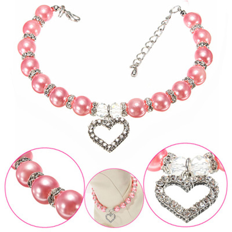Fashion Pet Puppy Dog Cat Pearls Necklace Collar Lovely Heart Charm Pendant Pet Puppy Necklace Jewelry Size S M L YL879440(China (Mainland))