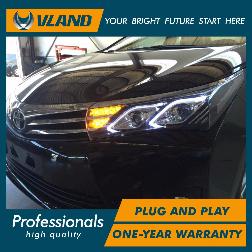 Free Vland aoto car styling Corolla Altis 2014-2016 LED headlight lxs model headlamp