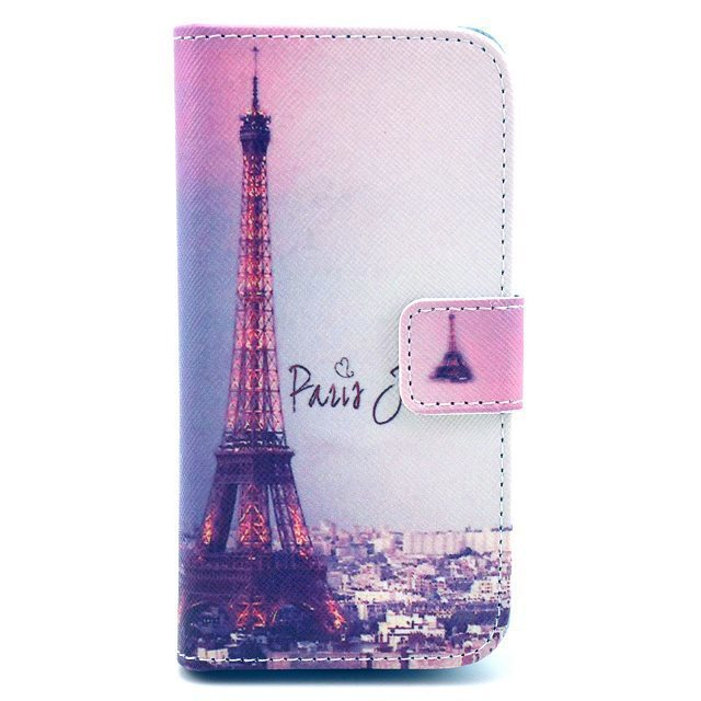 Night Scene Paris Eiffel Tower Magnetic Flip PU Leather Wallet Card Stand Case Cover For Samsung Galaxy S4 Mini i9190 I9192(China (Mainland))