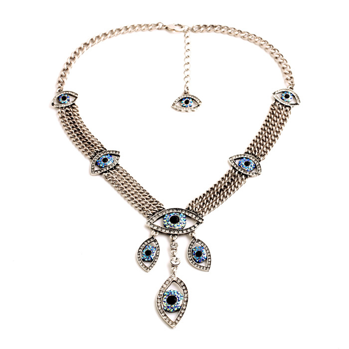 Hot Resin Perfumes Femininos Lariat New Arrival Gold & Silver Jewelry Eyes Light Blue Pendant Necklace(China (Mainland))