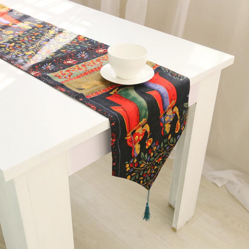 Crochet Table Runner 2015 Hot New Print Tablecloth Cotton Linen caminos de mesa chemin de table Modern Table Runners for wedding(China (Mainland))