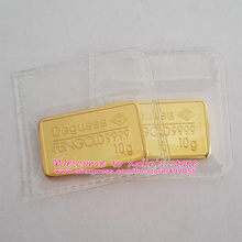 XDA0032C 10 Pcs 10 Grams Gold Bar Copper Core 24K GOLD Plated Without Copy or Attrappe Heat Sealed Packaging Non Magnetic(China (Mainland))