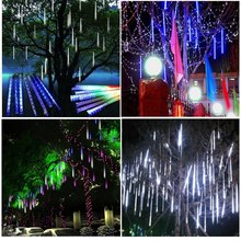 RGB 50CM Meteor Shower Rain Tubes AC100-240V LED Christmas Lights Wedding Party Garden Xmas String Light Outdoor Car Light(China (Mainland))
