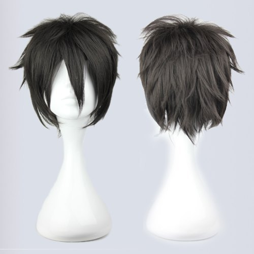 MCOSER Fashion Charm ladies Seraph of the End Vampire Hyakuya  Yuuichirou short  Black Natural Hair Full wigs