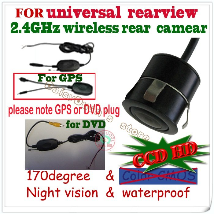 2.4G wireless camera CCD night vision car rear view camera rearview monitor parkig aid for Universal camera waterproof(China (Mainland))