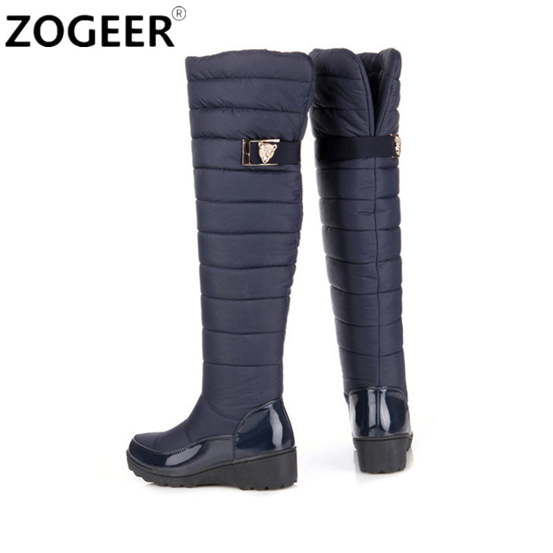Plus size 34 44 Women Boots 2016 Winter Ladies Down Plush ...