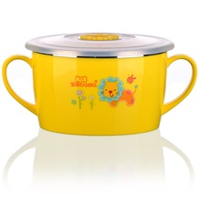 Leakproof Child Stainless Steel Bowl With Color Box Baby Feeding Bowl With Cover Food Container Rice For Toddlers