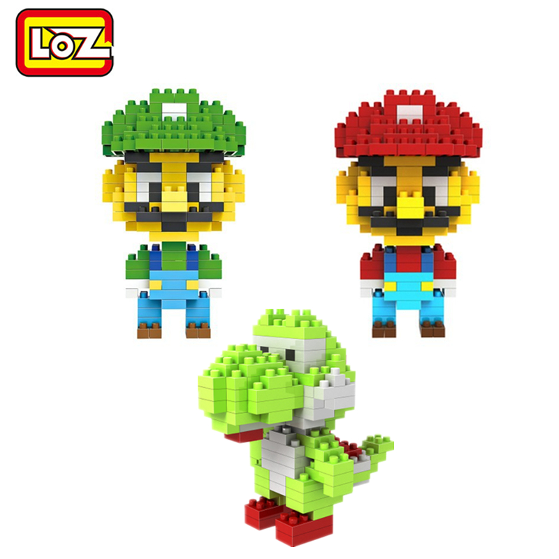 LOZ Super Mario Bros Toy Figure Model Luigi Mario Yoshi Building Blocks Game No Original Box 9+ Gift LOZ 2015 NEW(China (Mainland))