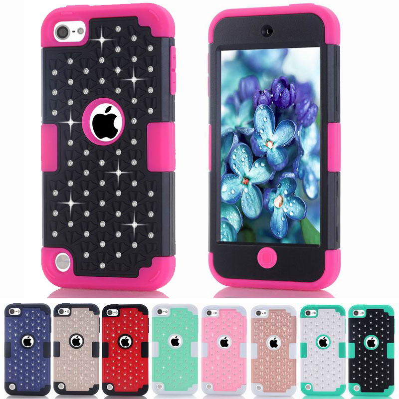 30pcs/lot Diamond Bling Hard Plastic & Soft Rubber High Impact Armor Hybrid Case Cover For iPod Touch 6 6th touch 5th 5 Gen(China (Mainland))