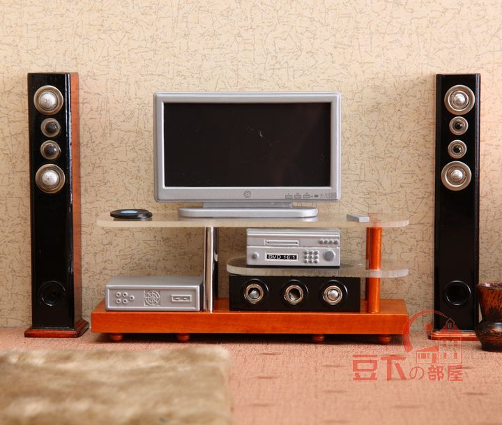 G05-X075 children baby gift Toy 1:12 Dollhouse mini Furniture Miniature wooden TV sound set