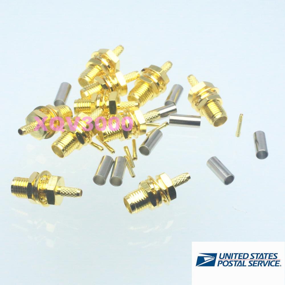 10pcs SMA female jack center nut bulkhead crimp RG174 RG316 LMR100 RF connector(China (Mainland))