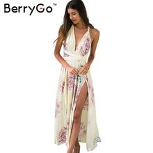 BerryGo 2016 summer style floral print dress Women evening party backless sexy long dress Boho cross beach maxi dresses vestidos(China (Mainland))