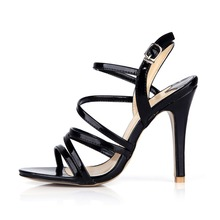 Buy big size 42 43 women fashion black patent leather high heels sandals sexy belt buckle party ladies summer gladiator pumps shoes for $47.17 in AliExpress store