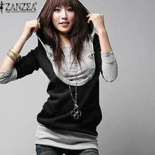 Women Fashion Fake 2 Pieces Pullover 2016 Autumn Hoody Long Sleeve Slim Patchwork Hooded Long Sweatshirt Size M L XL 2XL 3XL 4XL(China (Mainland))