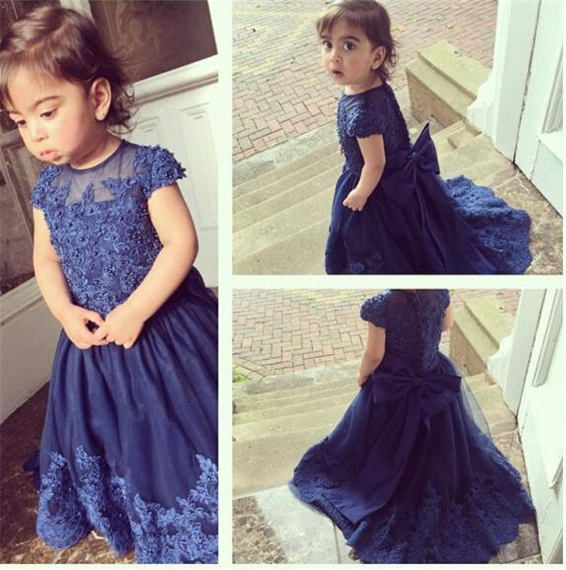 2016 Tulle Appliques Beaded Flower Girls Dress Short Sleeve First Communion Dresses New Long Girls Pageant Dresses For Wedding(China (Mainland))