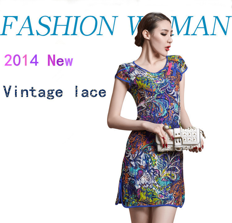 2014 Fashion Luxury New Arrival Vintage National Trend Colored Drawing Lace Dress Novelty