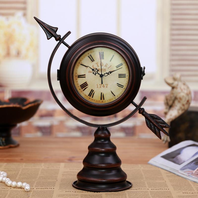 Antique Metal Globe Sphere Mute Double Face Desk Clock Decorative Vintage Iron Art Craft Ornament Accessories Embellishment(China (Mainland))