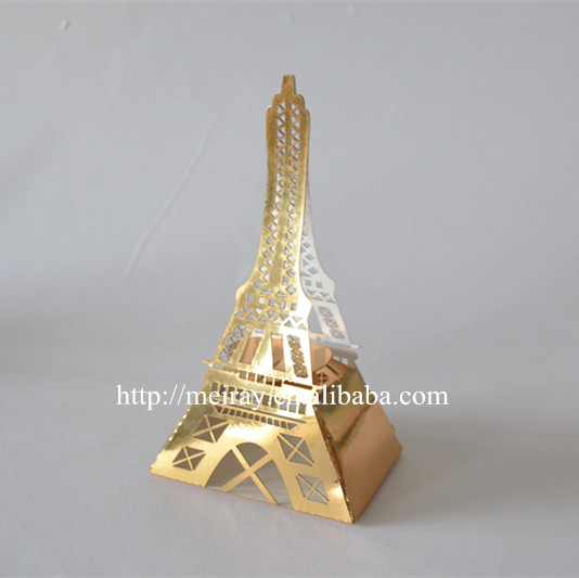 Fancy design! Free sample laser cutting paper craft eiffel tower wedding favor boxes party favors china from Mery Crafts(China (Mainland))