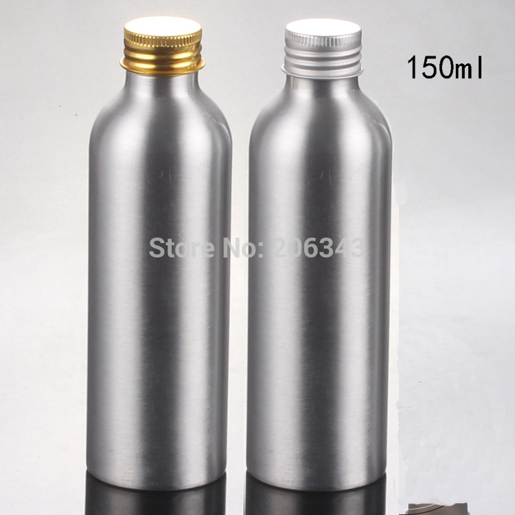 100pcs 150ml Aluminium bottle metal bottle with gold/silver aluminum screw lid