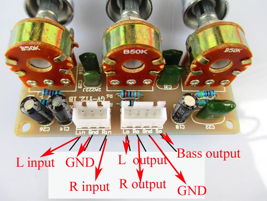 3 channel Adjust volume tuning tone Board for 2.1 Video Bass High Amplifier DIY(China (Mainland))
