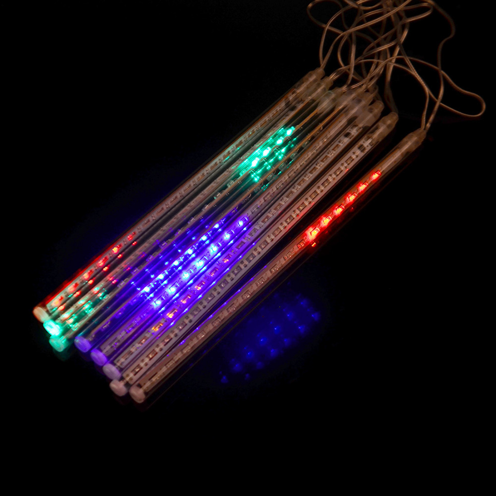 Colorful 8Pcs 30cm String Light Kit Meteor Shower Rain LED Lights Waterproof String for WeddingTree Decoration US Plug(China (Mainland))