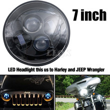 Motorcycle LED Head Light For Harley Davidson Touring sportster 883 1200 electra street glide stichers softail road king 7 Inch