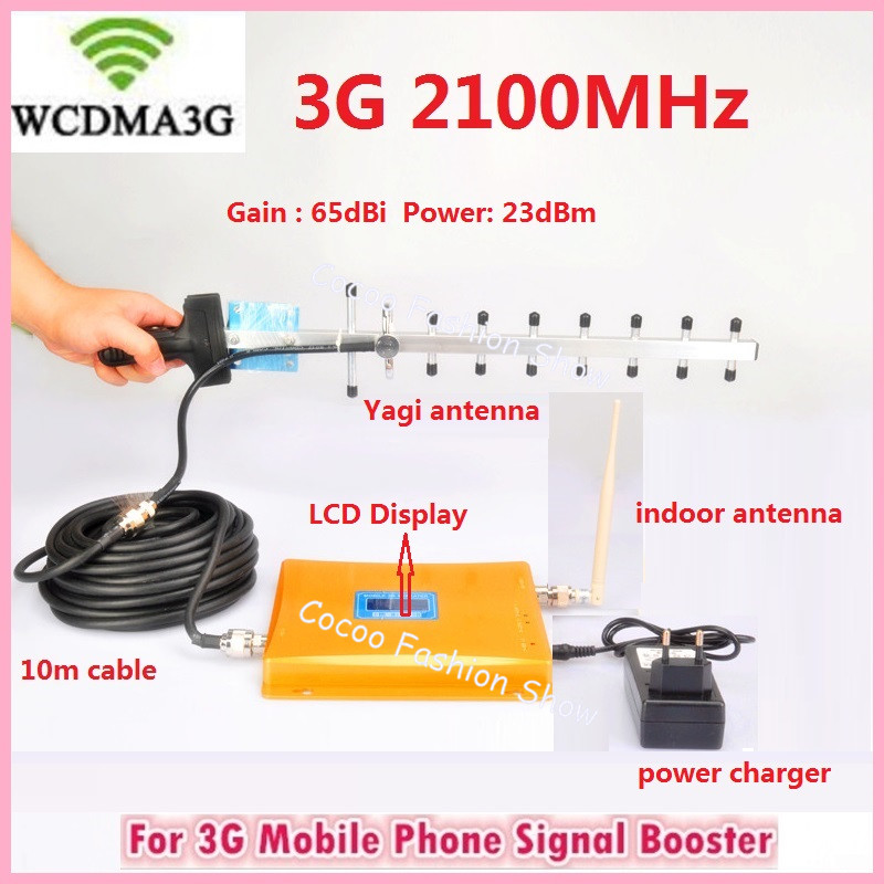 LCD Display 3G WCDMA 2100mhz Signal Booster Repetidor 2100MHz GSM Signal Booster Cell Phone Signal Amplifier With 3G Antenna(China (Mainland))
