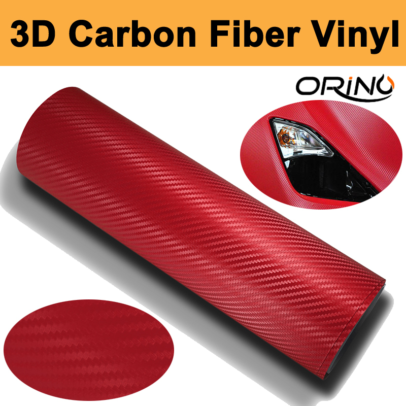 1.52x30m/Roll RED 0.16mm Thickness 3D Carbon Fiber Vinyl Carbon Fibre Car wrapping Film For Vehicle Wraps with Air release(China (Mainland))