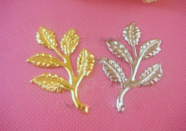 200pcs/lot 35*80mm white K color and gold plated leaf filigree wrap jewelry findings