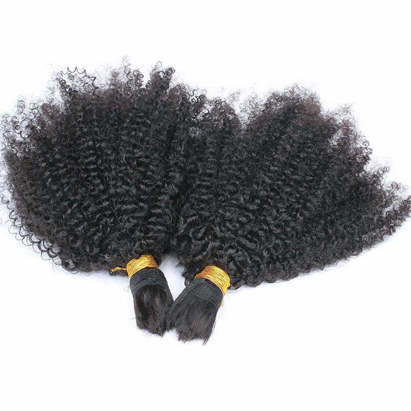 1pcs Human Braiding Hair Bulk Virgin Brazilian Human Hair Afro Kinky Bulk Hair Human Hair for Braiding Bulk No Attachment