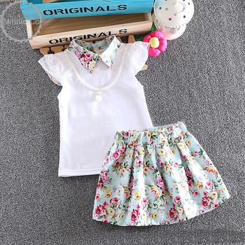 Top quality baby guirls clothes set white plain blouse and ffloral print skirt suits 2 pcs toddler lace-trim clothing set