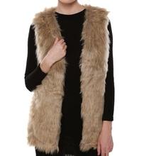 Women V Neck Slim Long Faux Fur Vest 2015 Fashion Solid Color Sleeveless Casual Winter Coat & Jacket For Female Elegant Outwear(China (Mainland))