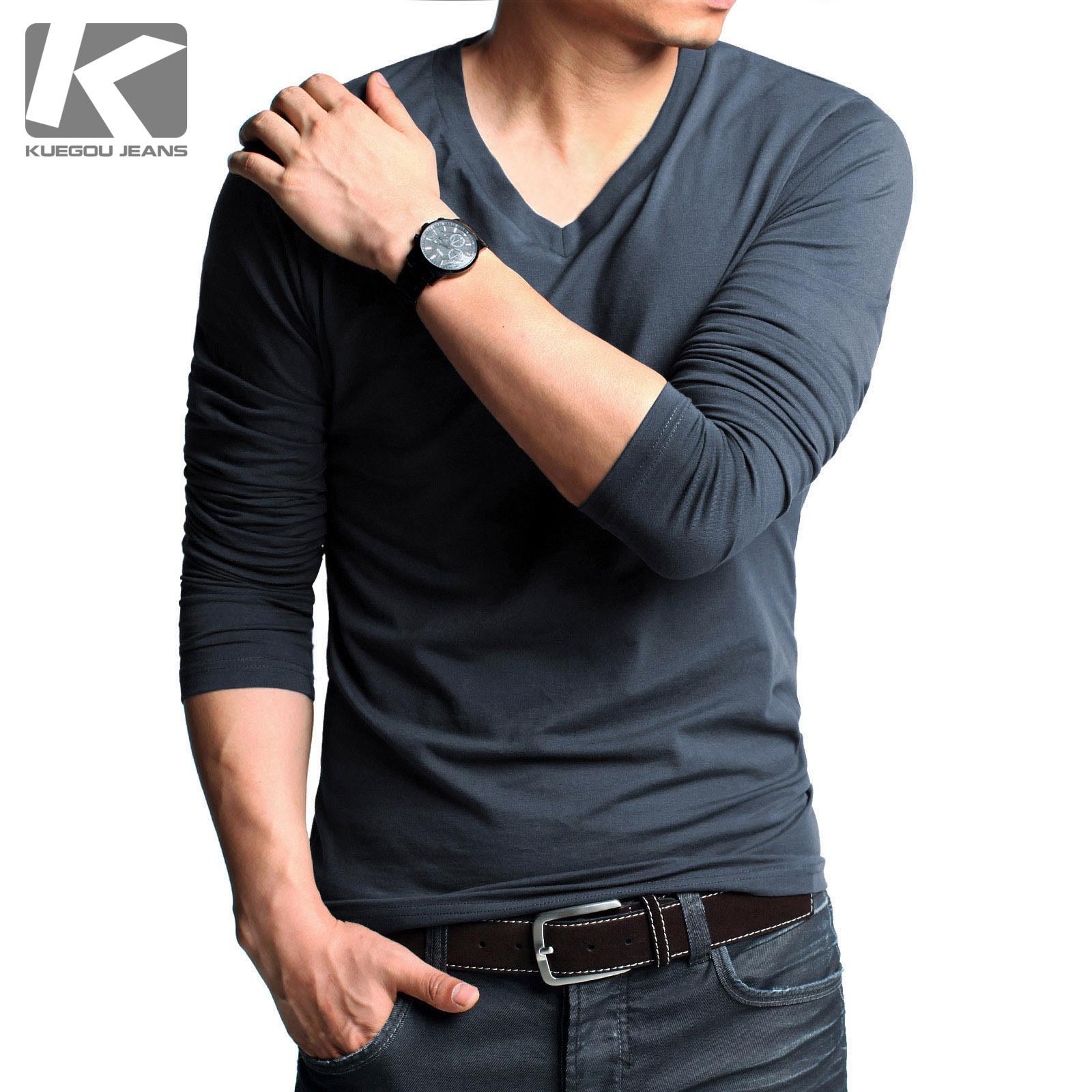 2015 New Arrival Tops Fashion Kuegou Male Long Sleeve Male
