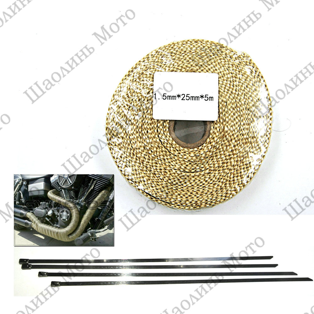 1X Beige CAR MOTORCYCLE Incombustible Turbo MANIFOLD HEAT EXHAUST THERMAL WRAP TAPE &amp; STAINLESS TIES 1.5mm*25mm*5m FREE SHIPPING<br><br>Aliexpress