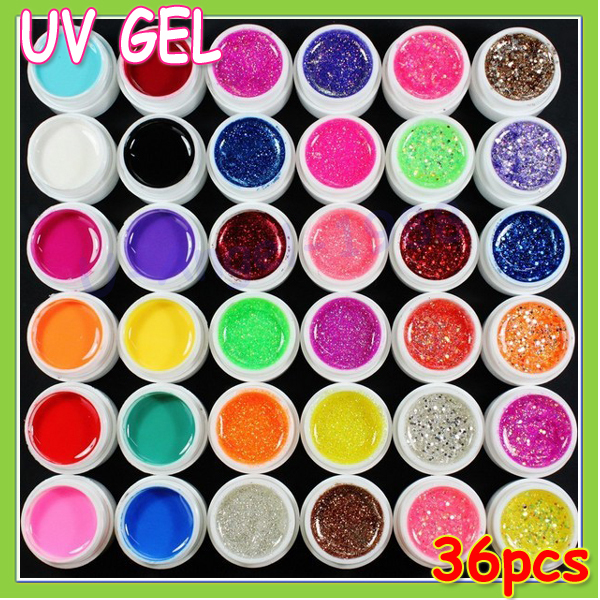 super hot pretty 36 Colors UV Gel Nail Tips Pure Fine Shiny Cover French Manicure Set brand style hot selling (1set) Wholesale<br><br>Aliexpress