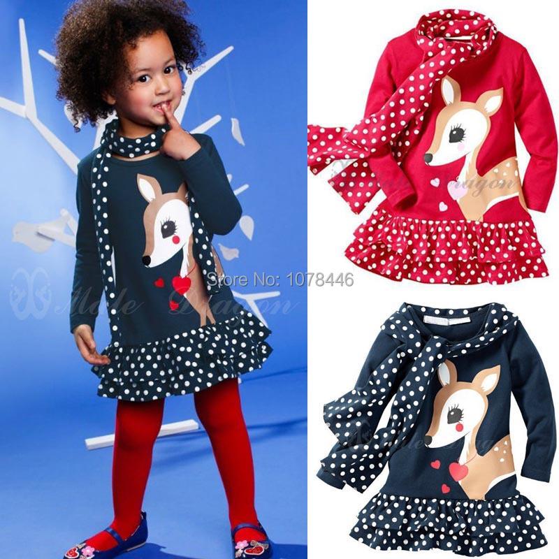349# Free shipment sika deer child dot patchwork scarf long-sleeve dress twinset(China (Mainland))