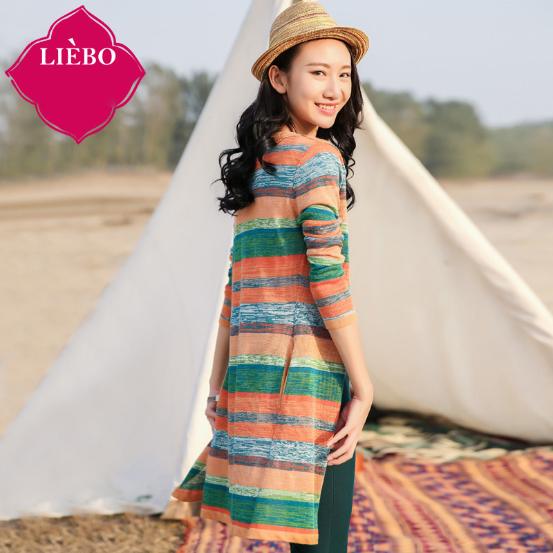LIEBO 2016 Spring Designed Striped Cardigan Women V-neck Long Section Jacquard Color Block Casual Soft Sweater Fluffy 51151879Одежда и ак�е��уары<br><br><br>Aliexpress