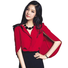 Buy Women Blouses Top Korea New 2017 Summer Turn-down Collar Elegant Cloak Top Cape Shirts Casual Work Wear Chiffon Blouse 1503038 for $9.87 in AliExpress store