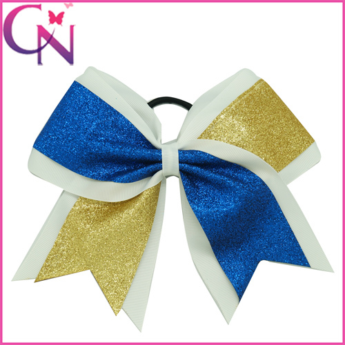 1Pcs 2015 New Arrival Luxury Cheerleading Bow Glitter Cheer Bows Rubber Band Ribbon Cheerleader Bow For Girls CNEHB-1505071-1()